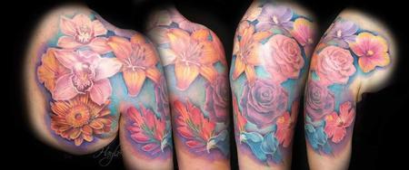 tattoos/ - Beautiful floral arrangement shoulder & 1/2 sleeve tattoo  - 141110
