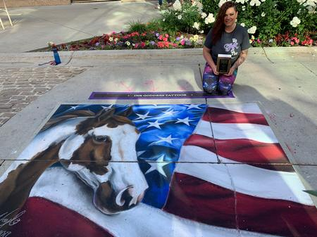 Art Galleries - American Paint Horse with American Flag Chalk Art - 140541