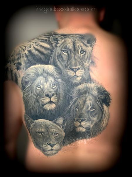 tattoos/ - Lion Pride back piece  - 140885