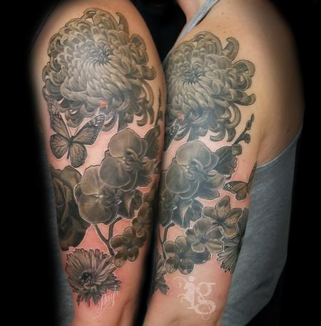 tattoos/ - Floral black and gray half sleeve tattoo by Haylo - 141614