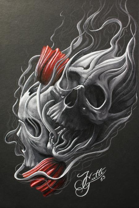 Art Galleries - Skull and Flowers - 100340