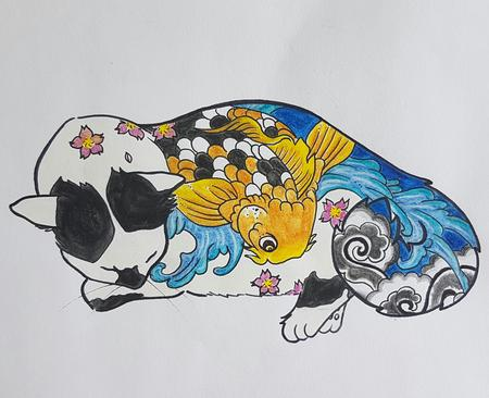 Art Galleries - Monmon Cat 2: Koi fish tattoo - 125159