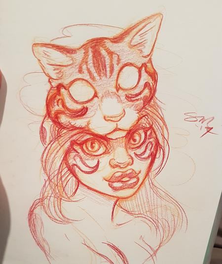 Art Galleries - Cat Head Warrior Woman Tattoo Design - 127675