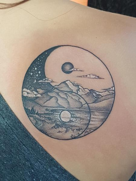 tattoos/ - Yin Yang Mountain Tattoo - 133823