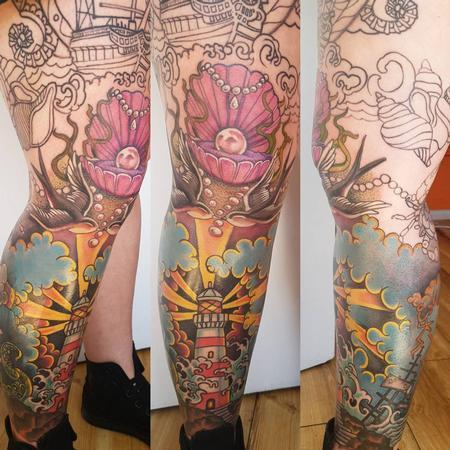 tattoos/ - Neotraditional Leg Sleeve Color Tattoo - 131750