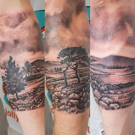 tattoos/ - NZ Landscape Black and Gray Tattoo - 131751