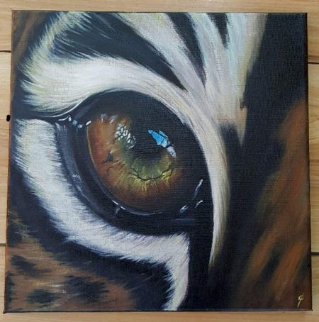 Art Galleries - Realistic Tiger Eye Painting  - 119305