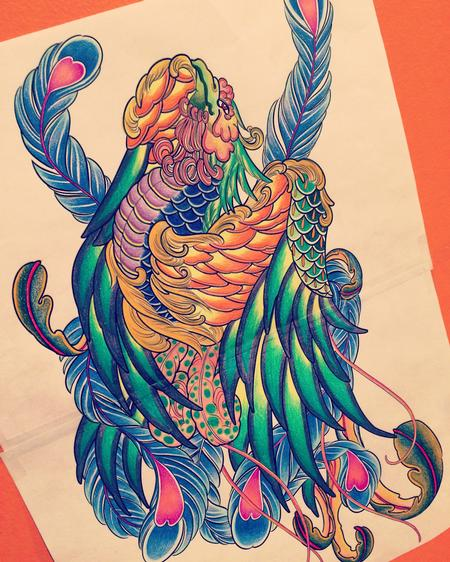 Art Galleries - Japanese Phoenix Tattoo Design  - 128598