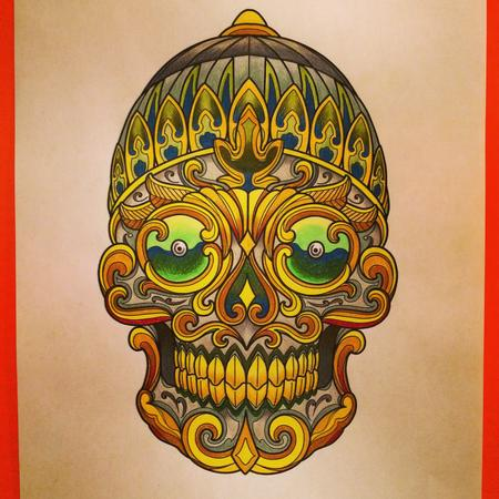 Art Galleries - Tibetan Skull Tattoo Design - 128599
