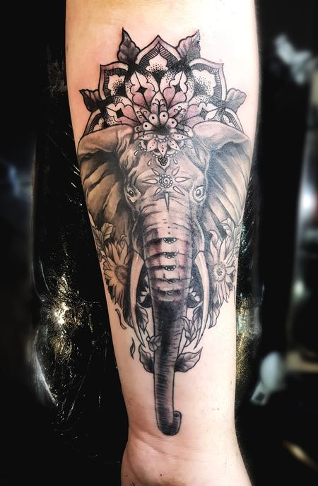 tattoos/ - Black and Grey Elephant Tattoo - 130832