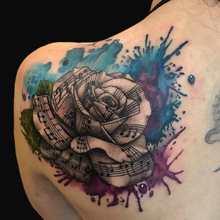 tattoos/ - Watercolor Rose with Music Notes - 132593