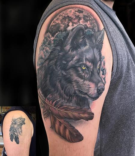 tattoos/ - Wolf and Feathers Coverup - 132594