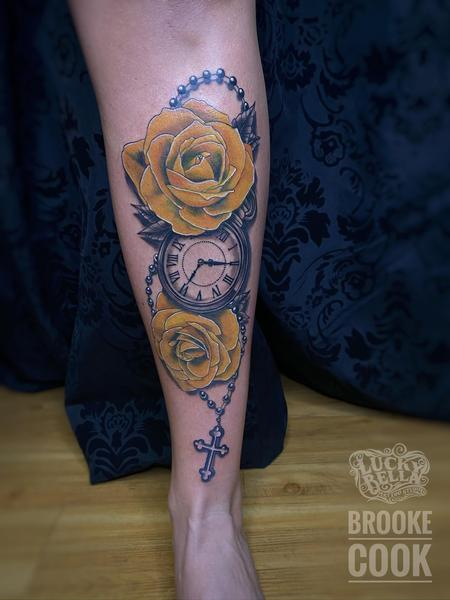 tattoos/ - Yellow Roses and Pocket Watch  - 142238