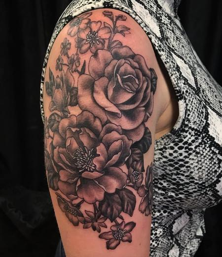 tattoos/ - Black and Grey Floral Half Sleeve by Howard Neal at Lucky Bella Tattoos in North Little Rock, AR - 142244