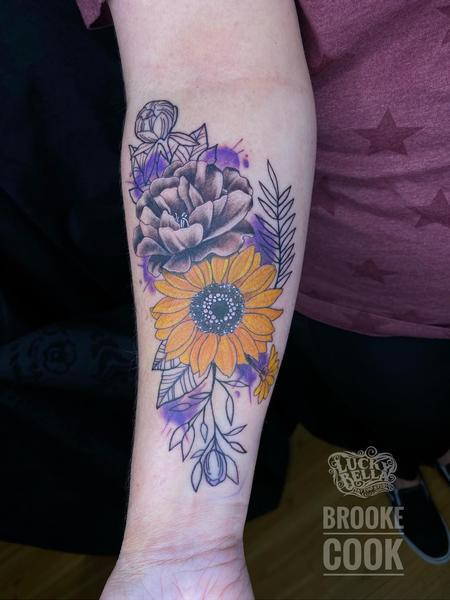 tattoos/ - Stylized Flowers by Brooke Cook at Lucky Bella Tattoos in North Little Rock, Arkansas  - 142320