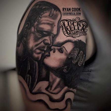 tattoos/ - The Monster and his Bride by Ryan Cook at Lucky Bella Tattoos in North Little Rock  - 130497