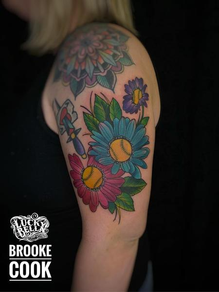 tattoos/ - Softball Flowers by Brooke Cook at Lucky Bella Tattoos in North Little Rock Arkansas - 140531