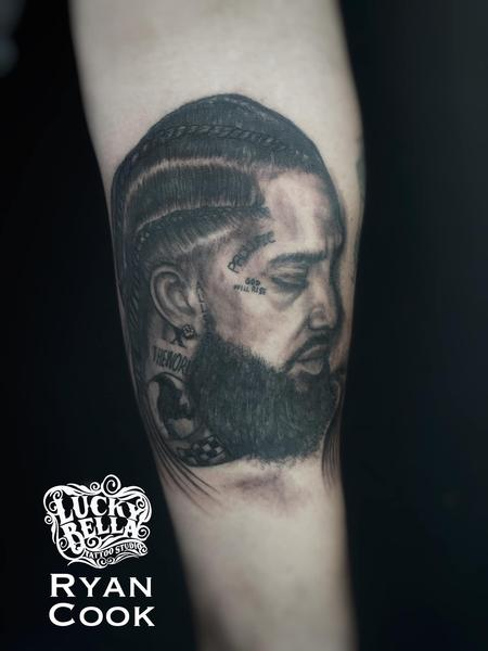 tattoos/ - Nipsey Hussle Portrait by Ryan Cook at Lucky Bella Tattoos in North Little Rock  - 141461