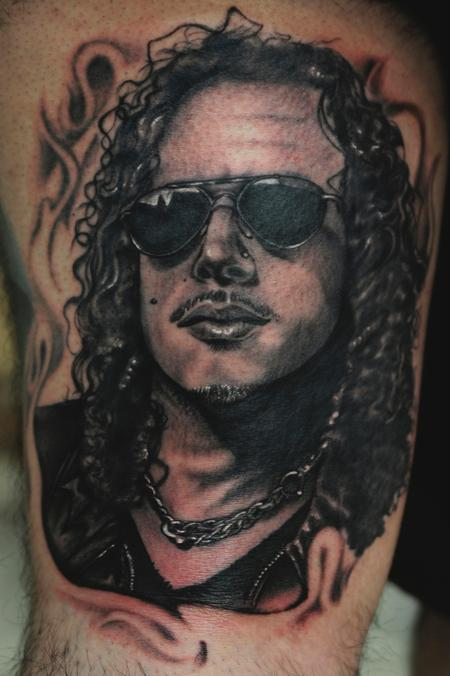 tattoos/ - black and gray portrait of metallica tattoo - 64304