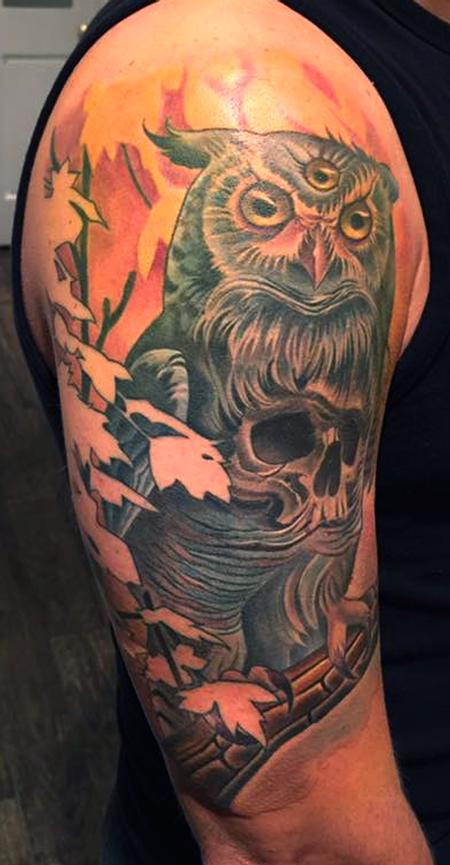 tattoos/ - Owl Skull Tattoo - 134278