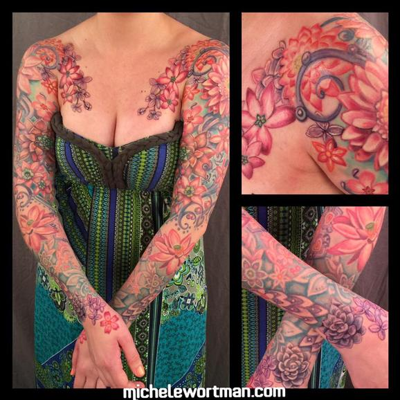 tattoos/ - Vintage floral bodyset on Renee - 117143