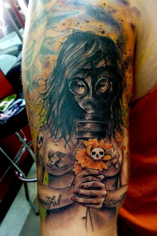 172f9e6f6f9d4 Mully Tattoo : Tattoos : Body Part Arm : Gasmask girl
