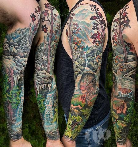 tattoos/ - Full Color Nature Sleeve Tattoo - 143090