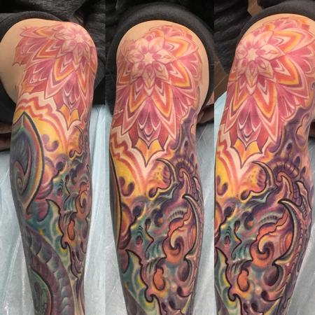 tattoos/ - Bio mech mandala knee tattoo - 142906