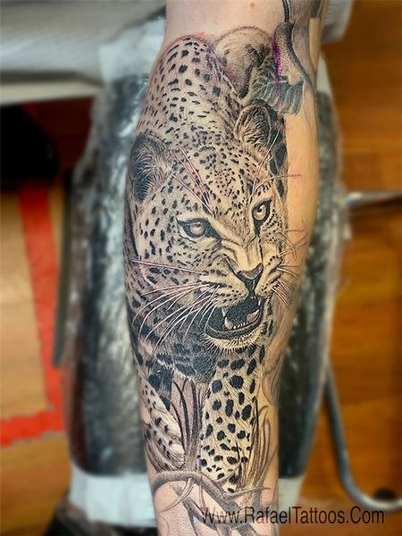 tattoos/ - Black and Grey Leopard Portrait Tattoo  - 142152