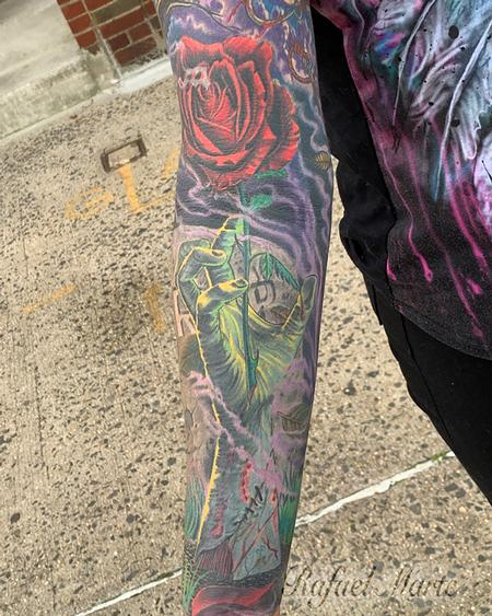 tattoos/ - Zombie Hand Reaching out  from the Grave Full Color Sleeve  - 141817