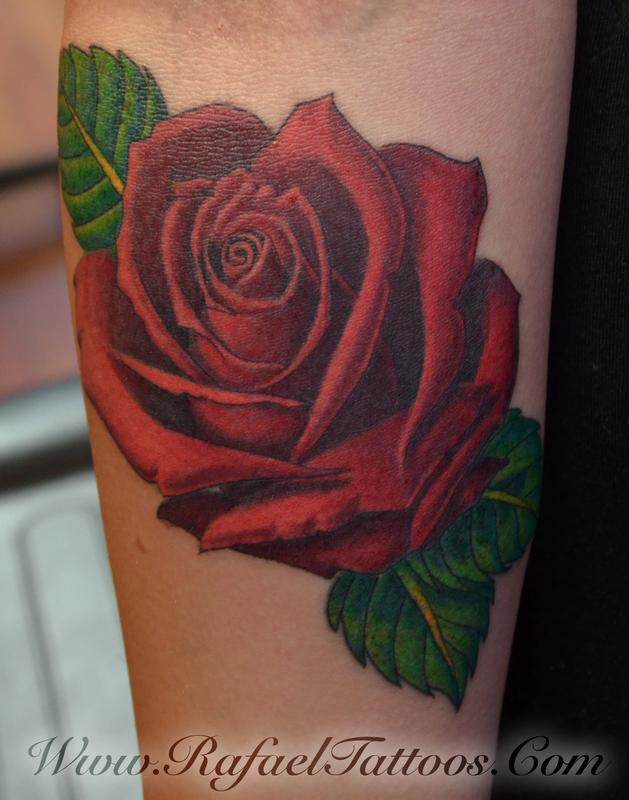 Rafael Marte Tattoos : Tattoos : New : Roed rose on Forearm