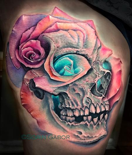 tattoos/ - realistic color skull and multiple rose morph tattoo - 131441