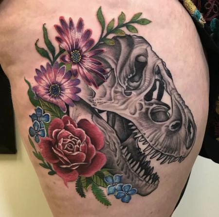 tattoos/ - Dinosaur skull floral - 138835