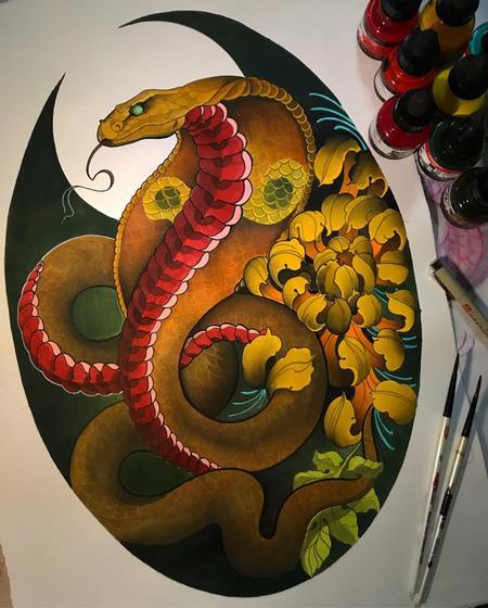 Art Galleries - Snake with flower - 138832
