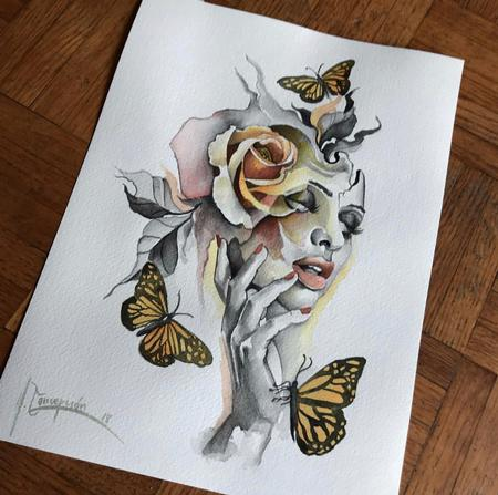 Art Galleries - Woman with butterflies and flower - 138834